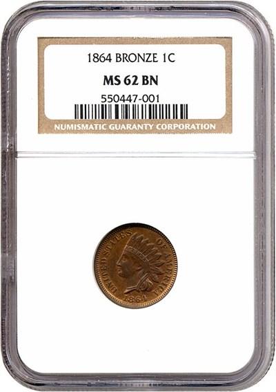 Image of 1864 1c Bronze NGC MS62 BN