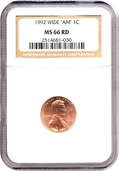 Image of 1992 1c Wide 'AM'  NGC MS66 RD