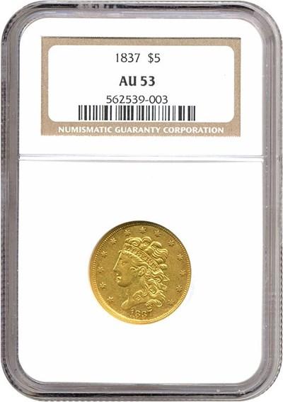 Image of 1837 $5  NGC AU53