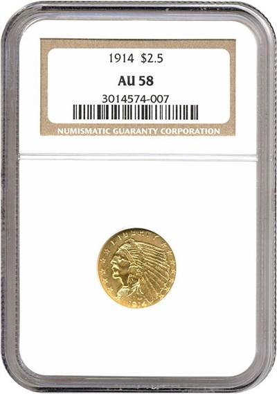Image of 1914 $2 1/2  NGC AU58