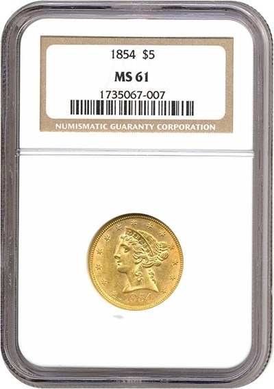 Image of 1854 $5  NGC MS61