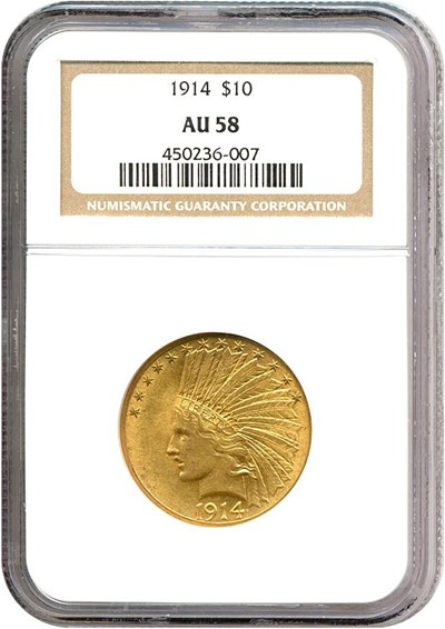 Image of 1914 $10  NGC AU58
