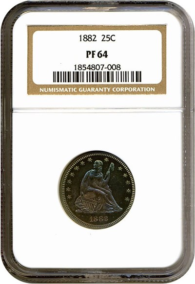 Image of 1882 25c  NGC Proof 64 *Color*