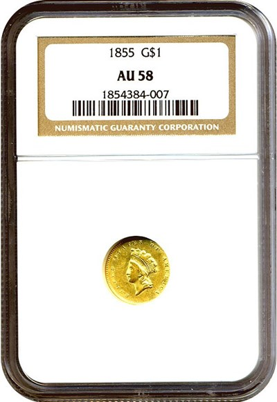 Image of 1855 G$1 Ty.2 NGC AU58