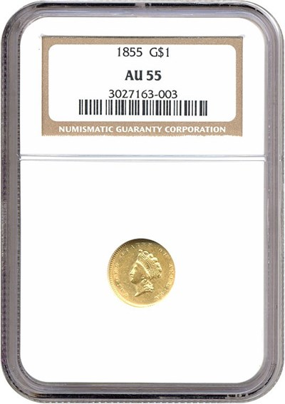 Image of 1855 G$1 Ty.2 NGC AU55