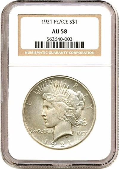 Image of 1921 $1 Peace NGC AU58
