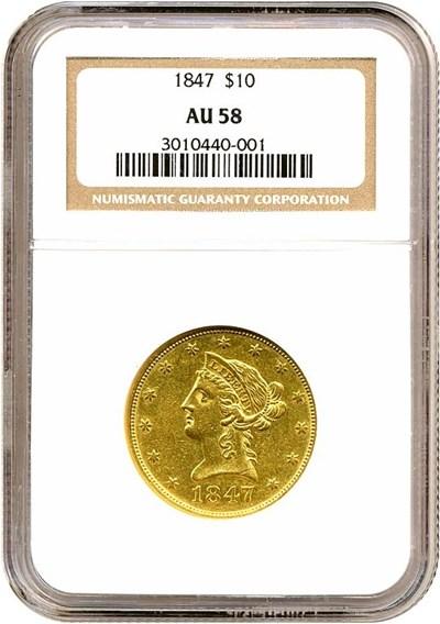 Image of 1847 $10  NGC AU58