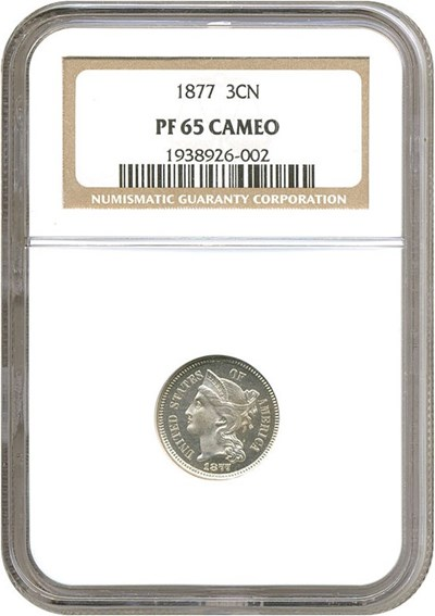 Image of 1877 3cN  NGC Proof 65 Cameo
