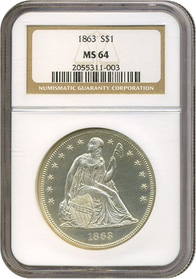 Image of 1863 $1  NGC MS64