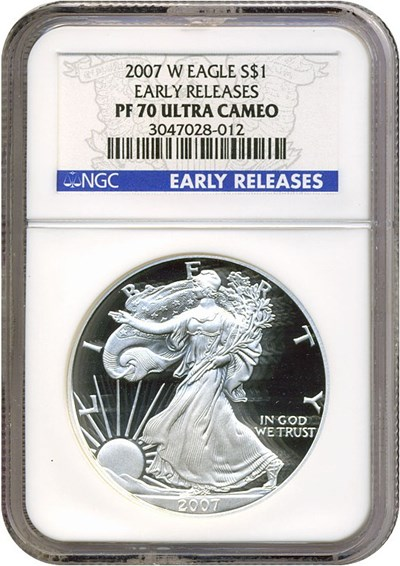 Image of 2007-W $1 Silver Eagle Early Releases NGC Proof 70 UCameo