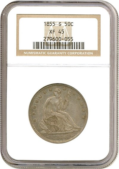 Image of 1855-S 50c Arrows NGC XF45