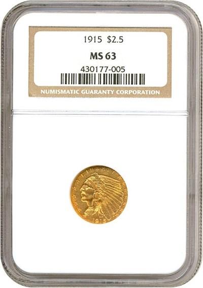 Image of 1915 $2 1/2  NGC MS63