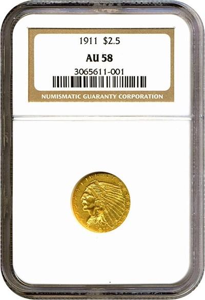 Image of 1911 $2 1/2  NGC AU58