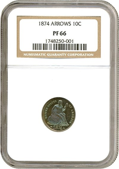 Image of 1874 10c Arrows NGC Proof 66 * Color *