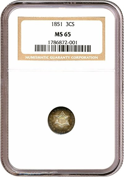Image of 1851 3cS  NGC MS65