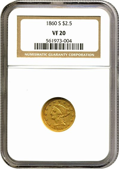 Image of 1860-S $2 1/2  NGC VF20