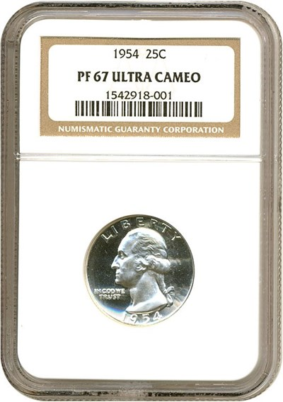 Image of 1954 25c  NGC Proof 67 UCameo
