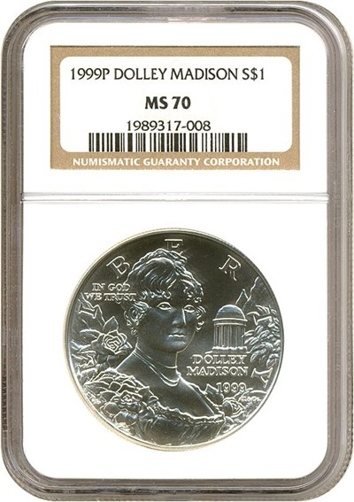 Image of 1999-P $1 Dolley Madison NGC MS70
