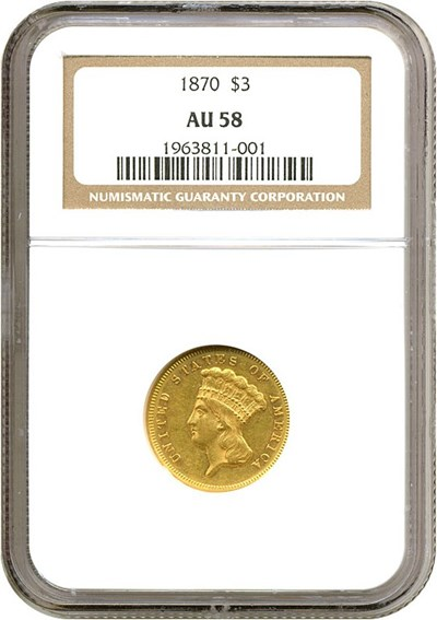 Image of 1870 $3  NGC AU58