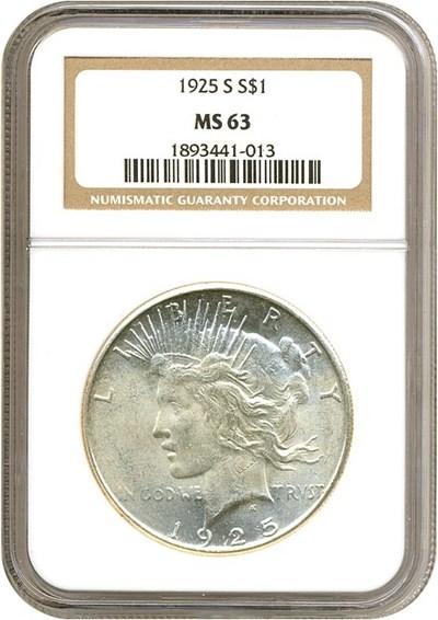 Image of 1925-S $1  NGC MS63