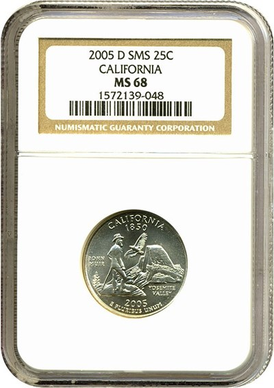 Image of 2005-D 25c SMS California NGC MS68