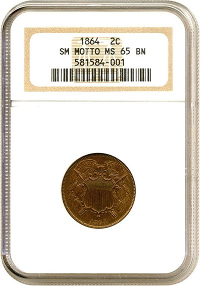 Image of 1864 2c Small Motto NGC MS65 BN