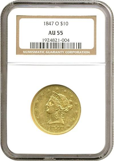 Image of 1847-O $10  NGC AU55
