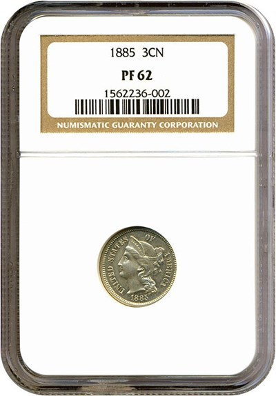 Image of 1885 3cN  NGC Proof 62