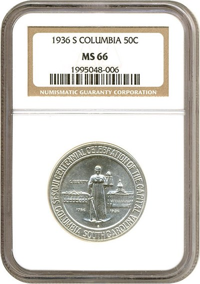Image of 1936-S 50c Columbia NGC MS66