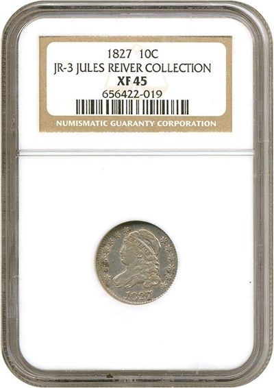 Image of 1827 10c  NGC XF45 (JR-3) Ex: Jules Reiver Collection