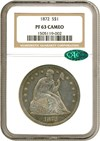 Image of 1872 $1  NGC/CAC Proof 63 Cameo