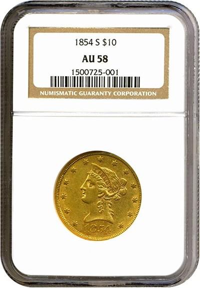 Image of 1854-S $10  NGC AU58