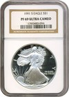 Image of 1991-S $1 Silver Eagle NGC Proof 69 UCameo