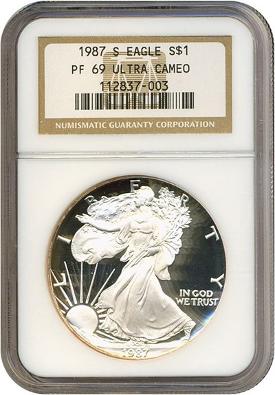 Image of 1987-S $1 Silver Eagle NGC Proof 69 UCameo