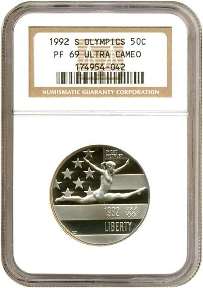 Image of 1992-S 50c Olympic Gymnast NGC Proof 69 UCameo