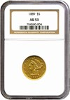 Image of 1889 $5  NGC AU53