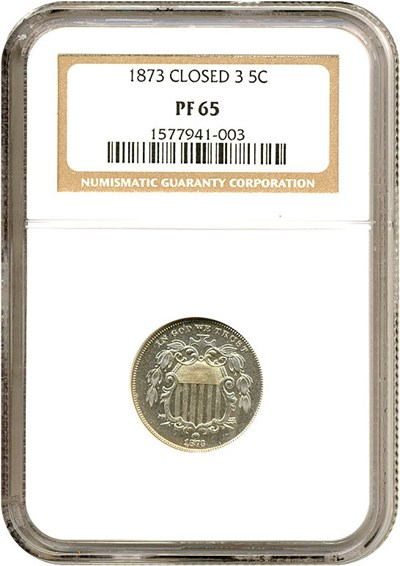 Image of 1873 5c Closed 3 NGC Proof 65