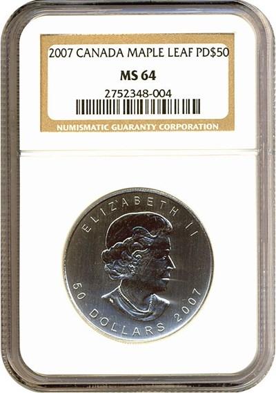 Image of Canada: 2007 $50 Maple Leaf/Palladium NGC MS64