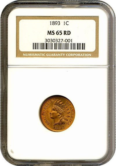 Image of 1893 1c  NGC MS65 RD