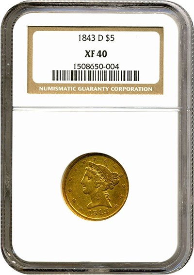 Image of 1843-D $5  NGC XF40