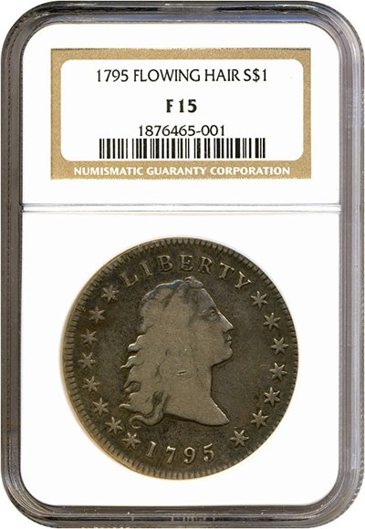 Image of 1795 $1 Flow. Hair, 3 leaves NGC F15