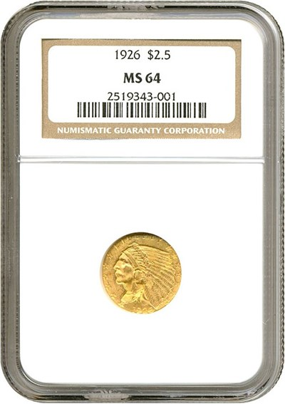 Image of 1926 $2 1/2  NGC MS64