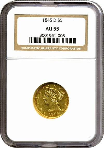 Image of 1845-D $5  NGC AU55