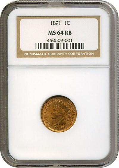 Image of 1891 1c  NGC MS64 RB