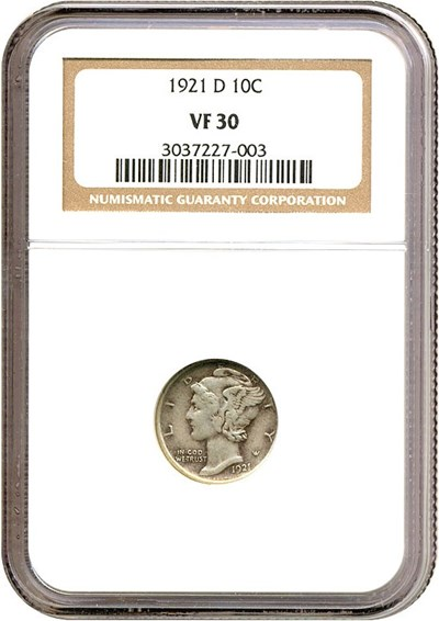 Image of 1921-D 10c  NGC VF30