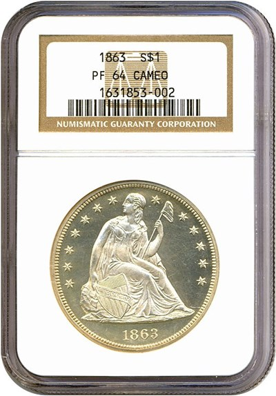 Image of 1863 $1  NGC Proof 64 Cameo