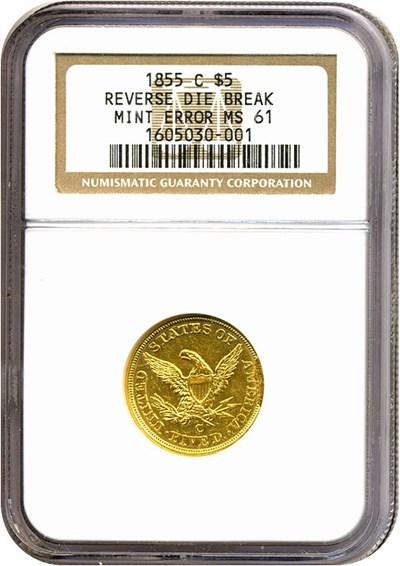 Image of 1855-C $5  NGC MS61 - Reverse Die Break