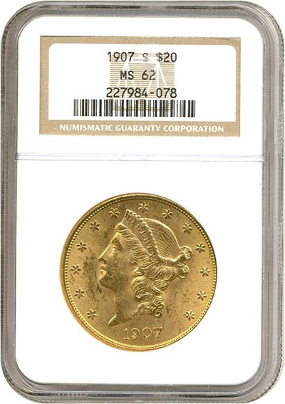 Image of 1907-S $20  NGC MS62