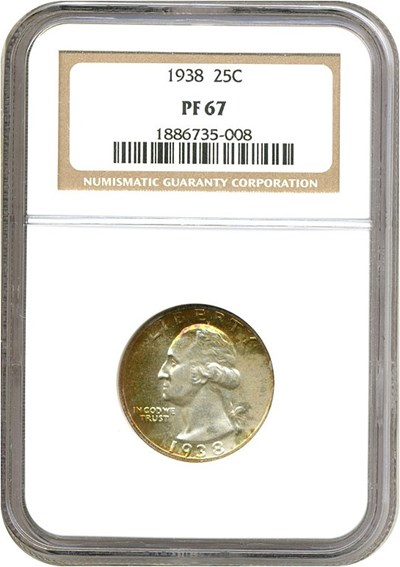 Image of 1938 25c  NGC Proof 67 ** Color **