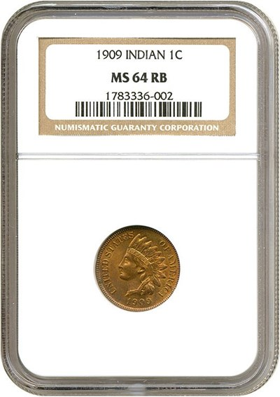 Image of 1909 1c Indian NGC MS64 RB
